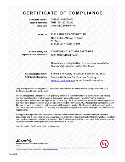 Porcellana Zhejiang GBS Energy Co., Ltd. Certificazioni